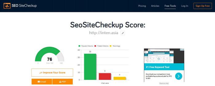 آنالیزور سئو سایت SeoSiteCheckup Score